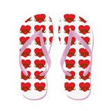 Heart With Mustache Pattern Flip Flops