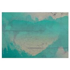 Aqua Heart Abstract Wall Art