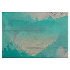 Aqua Heart Abstract Wall Art