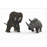 An adult Nedoceratops compared to a modern adult W