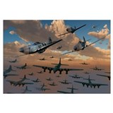 B-17 Flying Fortress bombers and P-51 Mustangs in