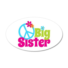 Peace Sign Big Sister 38.5 x 24.5 Oval Wall Peel