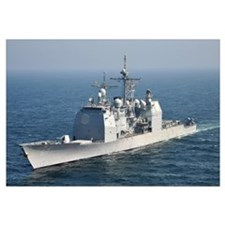 The Ticonderoga-class guided-missile cruiser USS S