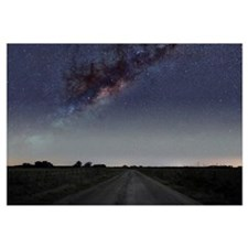 The Milky Way galaxy over a rural road in Mercedes