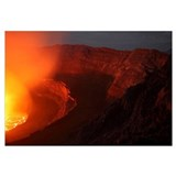 Summit caldera with lava lake, Nyiragongo Volcano,