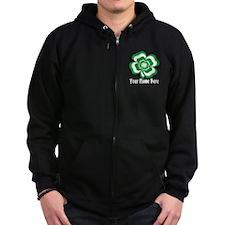 Customizable Stacked Shamrock Zip Hoodie