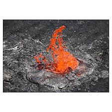 Lava bubble bursting through crust of active lava