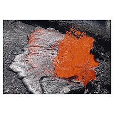 Lava bursting at edge of active lava lake, Erta Al
