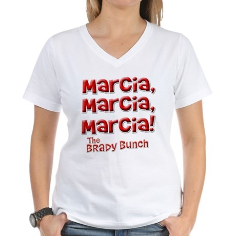 Marcia Brady Bunch Womens V-Neck T-Shirt