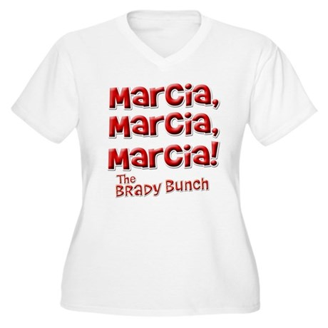 Marcia Brady Bunch Womens Plus Size V-Neck T-Shir