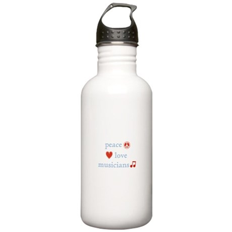 Peace, Love and Musicians Stainless Water Bottle 1