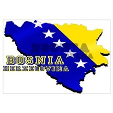 Flag Map of Bosnia Wall Art