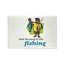 Never Too Young to Start Fishing Rectangle Magnet