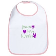 Peace, Love and Bunnies Bib