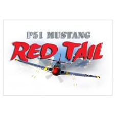 P51 Mustang Red Tail Wall Art