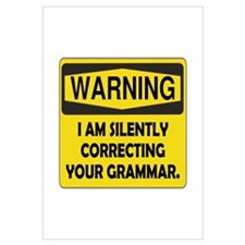 Warning Grammar Wall Art