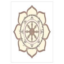 Dharma Wheel with Lotus Flowe Wall Art