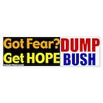 Get Hope. Dump Bush Bumper Sticker