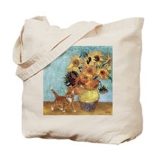 Sunflowers & Kitten Tote Bag