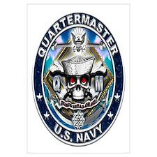 USN Quartermaster Skull QM Bl Wall Art