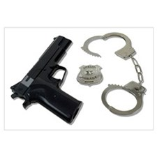 Police Badge Gun Handcuffs Wall Art