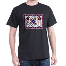 4th of July Quilt Black T-Shirt