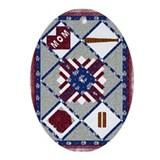 4th of July Quilt Oval Ornament