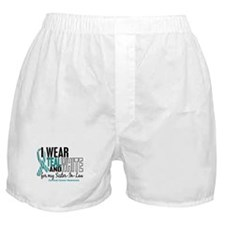 I Wear Teal White 10 Cervical Cancer Boxer Shorts