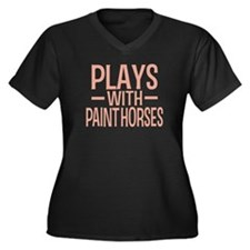 PLAYS Paint Horses Women's Plus Size V-Neck Dark T