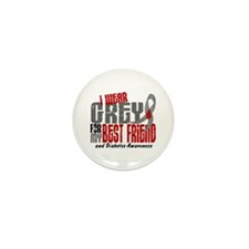 I Wear Grey 6 Diabetes Mini Button (10 pack)
