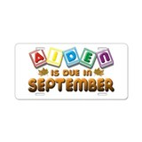 Aiden is Due in September Aluminum License Plate
