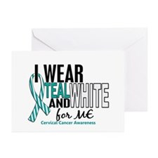 I Wear Teal White 10 Cervical Cancer Greeting Card