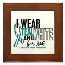 I Wear Teal White 10 Cervical Cancer Framed Tile