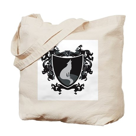 Black Wolf Shield Tote Bag