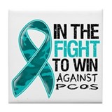 In The Fight PCOS Awareness Tile Coaster