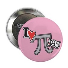 "I heart (love) Pi Day PINK 2.25"" Button (100 pack)"