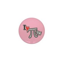 I heart (love) Pi Day PINK Mini Button (100 pack)