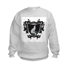 Black Wolf Shield Kids Sweatshirt