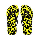Yellow and Black Leopard Spot Flip Flops