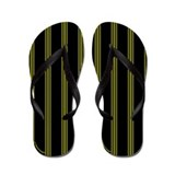 Yellow and Black Pinstripe Flip Flops