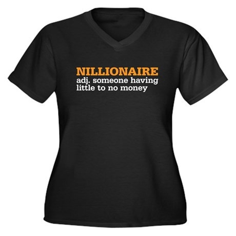 nillionaire Women's Plus Size V-Neck Dark T-Shirt