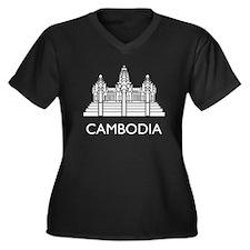 Cambodia Angkor Wat Women's Plus Size V-Neck Dark