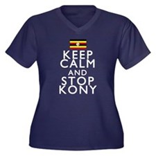 Stay Calm and Stop Kony Women's Plus Size V-Neck D