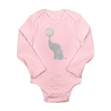 Volleyball Elephant Gift Long Sleeve Infant Bodysu