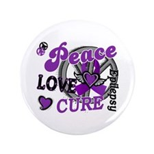 "Peace Love Cure 2 Epilepsy 3.5"" Button"