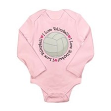 I Love Volleyball Gift Long Sleeve Infant Bodysuit