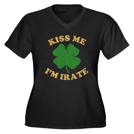 Kiss Me I'm Irate Womens Plus Size V-Neck Dark T-