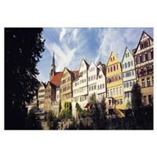 Low angle view of row houses in a town, Tuebingen,