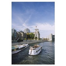 Tour boat on the Spree river, Reichstag, Berlin, G