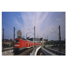 Train on railroad tracks, Central Station, Berlin,